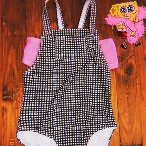 plaid black & white swimsuit for girls